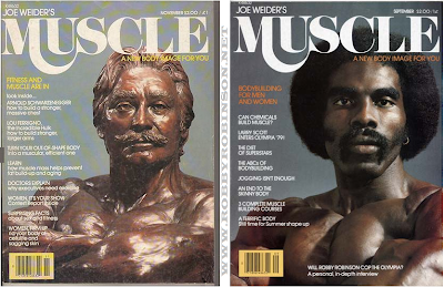 The famous Joe Weider's bronze bust and Robby Robinsonin the Weiders-Bust-Pose  on the covers of  Weiders' Magazine MUSCLE BUILDER POWER,  September & November 1979 ▶ www.robbyrobinson.net/books.php