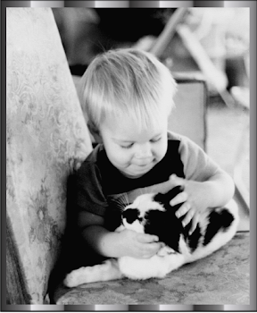 My Son Rusty and his cat Barth ~photo taken in the spring of 1981