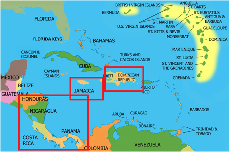Christopher Columbus Journey From Spain To Carribean Islands Map