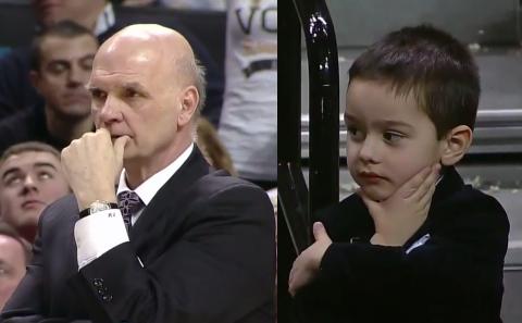 Neto de técnico de basquete imita avô