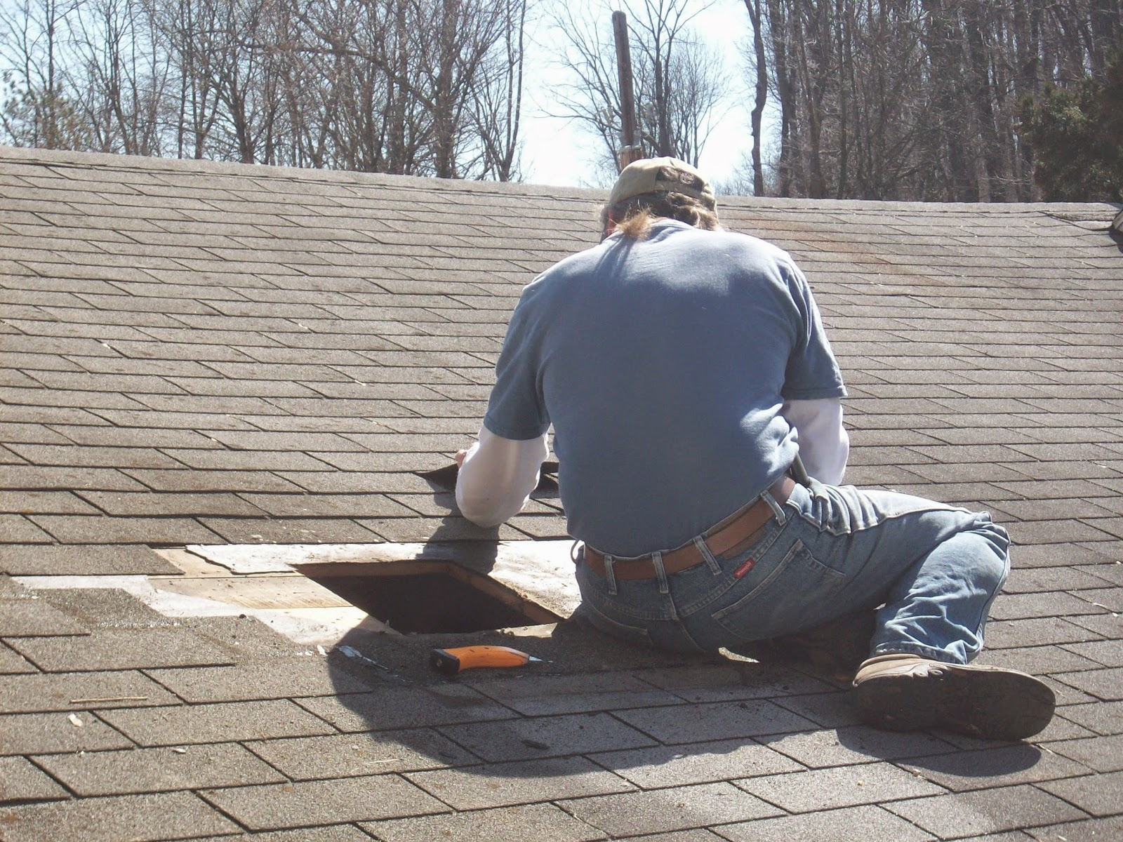 We Were Able To Find A Halfway Decent Match In A Cheap Shingle For The Patch.  After Patching The Hole With Plywood And Roofing Paper The Shingling Went  ...