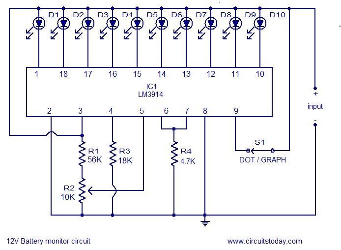 led circuit level indicator 12v battery ~circuit diagram12v battery led level indicator circuit