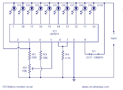 12V Battery LED Level Indicator circuit