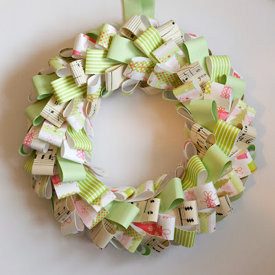 Green paper Christmas Wreath