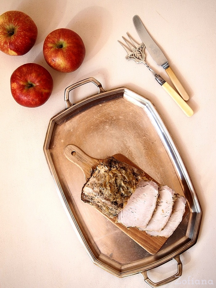 Roast Pork Loin with Apples and mint