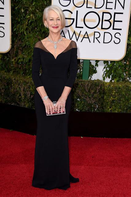 Helen Mirren Badgley Mischka Golden Globes 2016