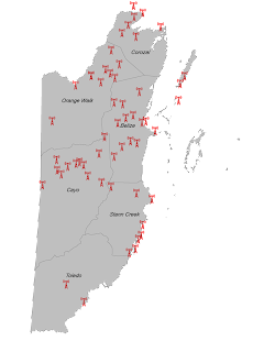 belize map displaying digicell's cell sites towers