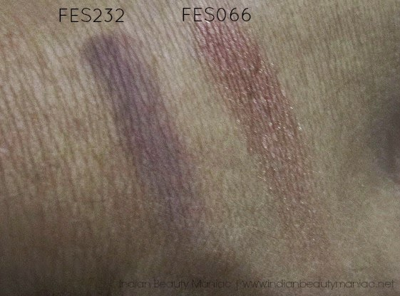 Faces Canada Eyeshadow Singles FES232 and FES066 swatch without flash