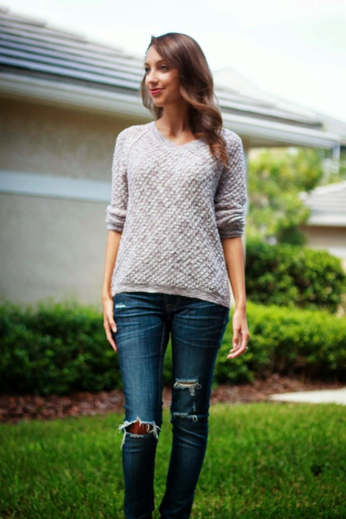 slouchy sweater distressed denim