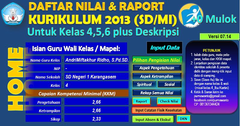 Daftar Nilai Dan Rapor Kurikulum 2013 Jenjang Sd Mi Plus