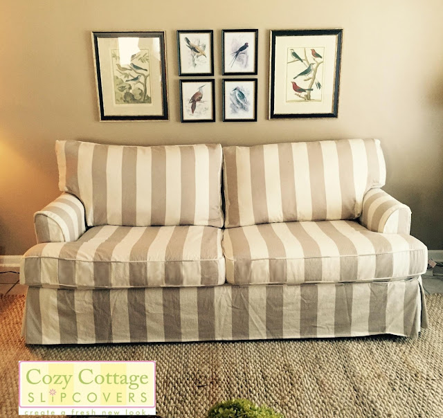 pet friendly slipcover striped slipcover