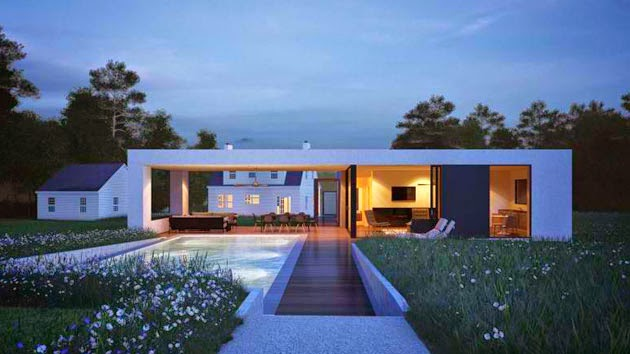 White rectangle contemporary minimalist house design with for Rectangular house plans modern