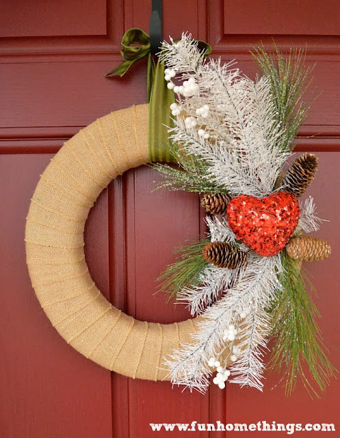 Wintery Valentine's Day Burlap wreath