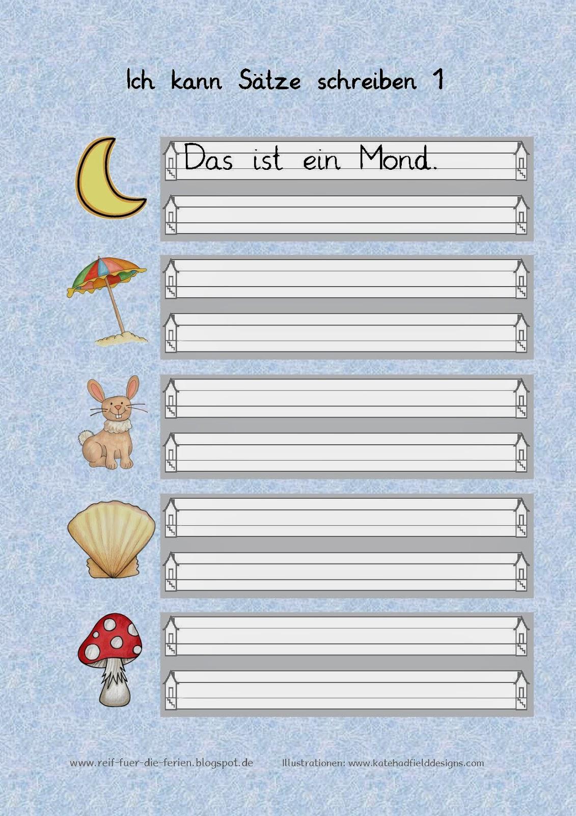 Reif für die Ferien: Ich kann Sätze schreiben - Arbeitsblatt 1-3