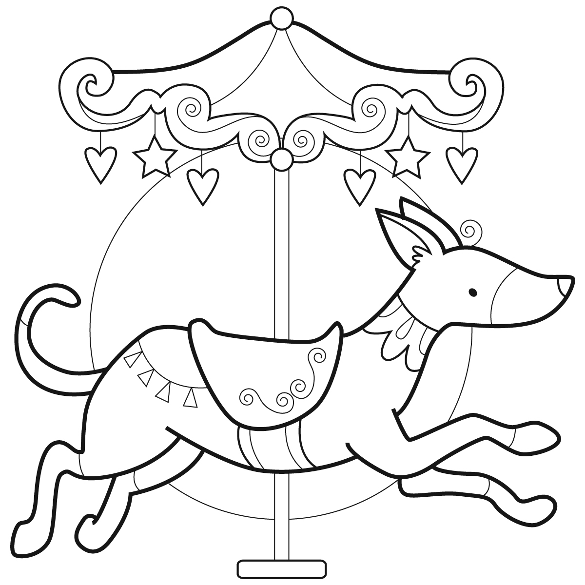 free carousel coloring pages - photo#34