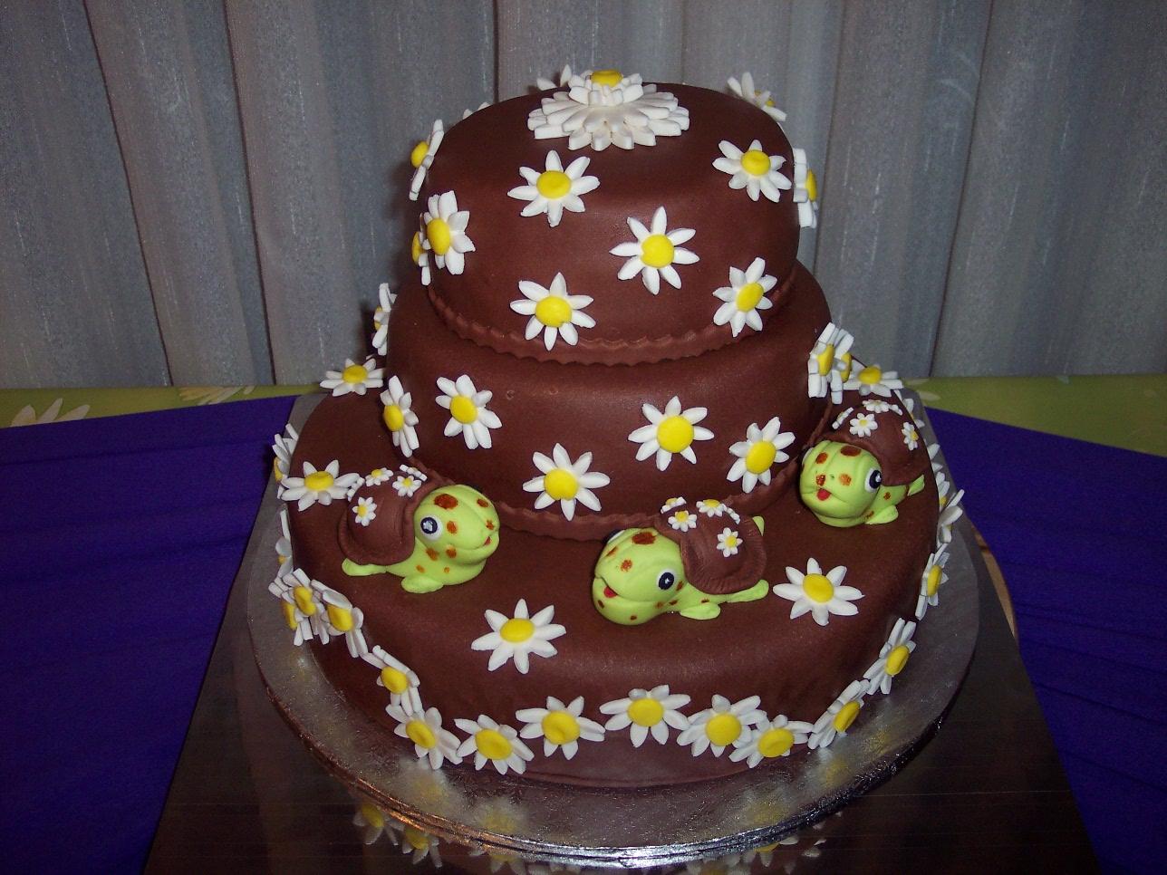 tarta tortuguitas con margaritas de chocolate ver tartas de boda tartas de cumpleaos y tartas infantiles
