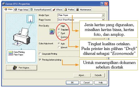 Pengaturan properties opsi pencetakan pada tab Main,