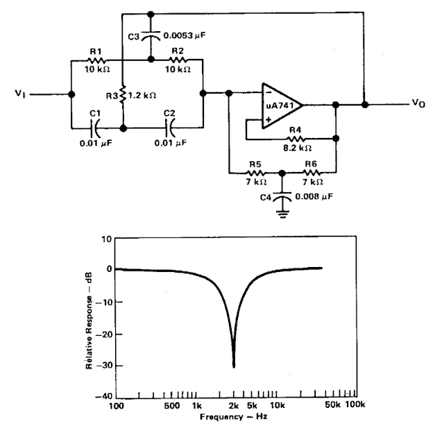 Active band-reject filter Circuit Diagran