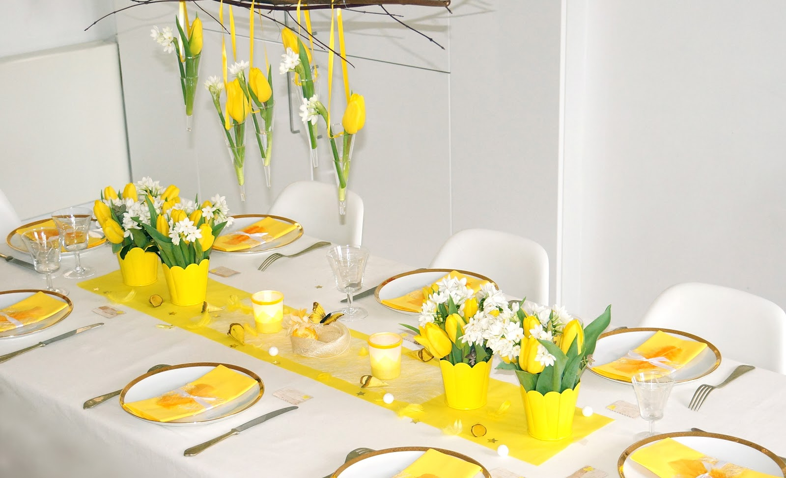 Ma boutique d co table d coration de table jaune printemps une table qui - Table de paques deco ...