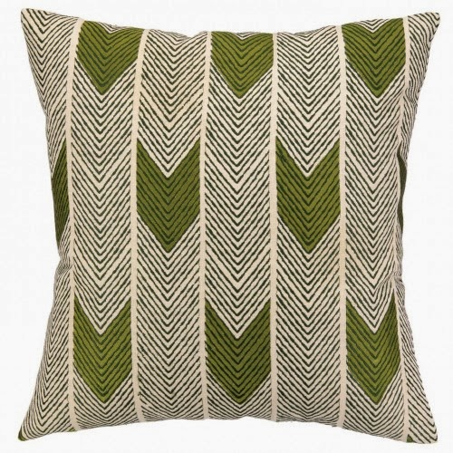 COCOCOZY Arrow Throw Pillow in avocado and forest