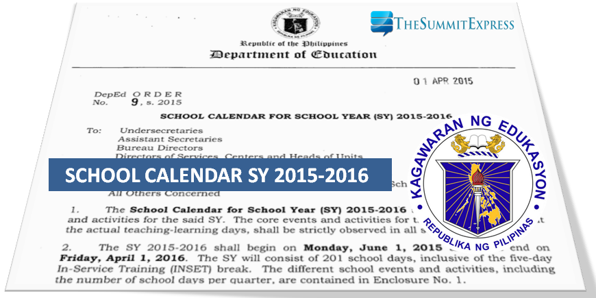 DepEd releases school calendar for SY 2015-2016; classes to open June 1