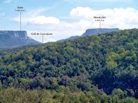 Aiats i el Montcalm separats pel Coll de Comajoan sobresurten per damunt d'espeses boscúries