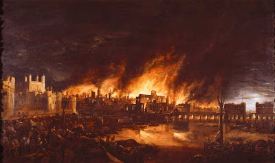 Fire will burn the blood of the just in London in the year 66.
