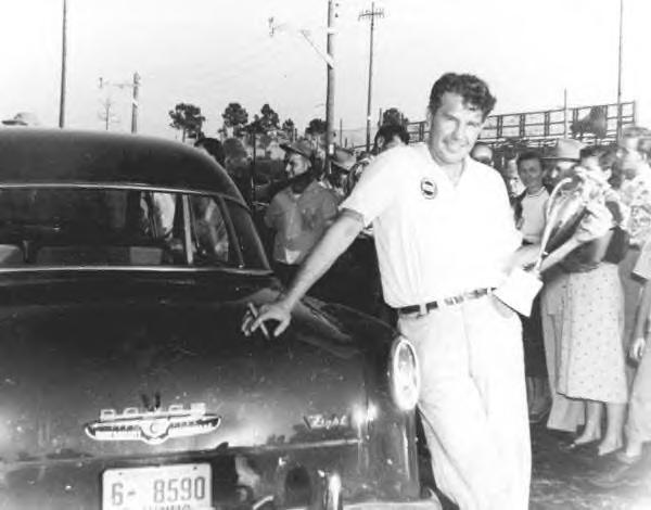 Lee Petty at a race track near Palm Beach Florida. c1953