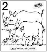 Atividades com Numerais. Dois rinocerontes