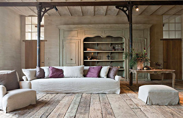 #24 - Designer-Architect Bernard de Clerck farmhouse restoration, image via Corvelyn (new and reclaimed wood flooring) as seen on linenandlavender.net, http://www.linenandlavender.net/2013/02/bernard-de-clerck-architect-be.html