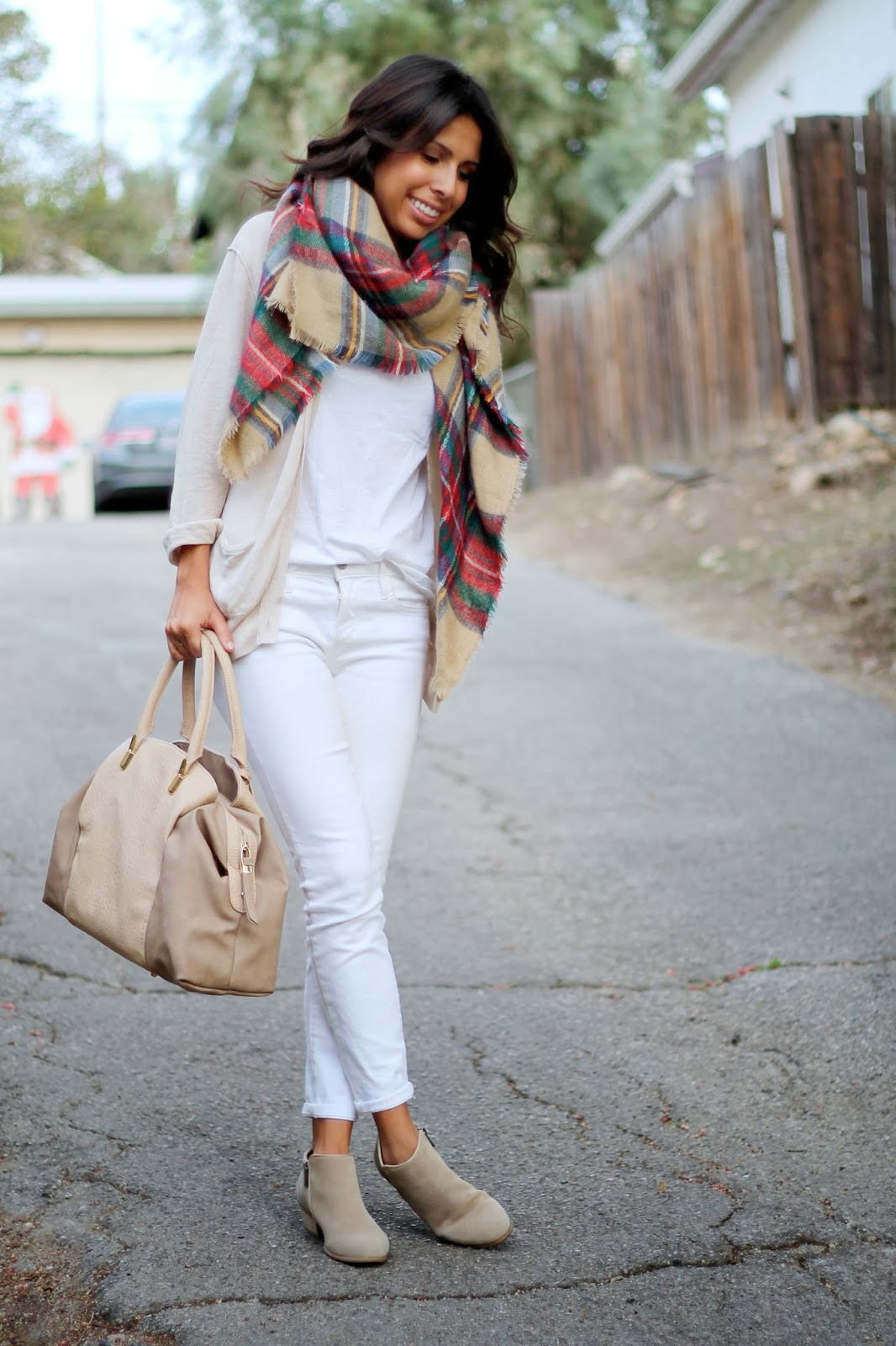 zara plaid scarf white denim