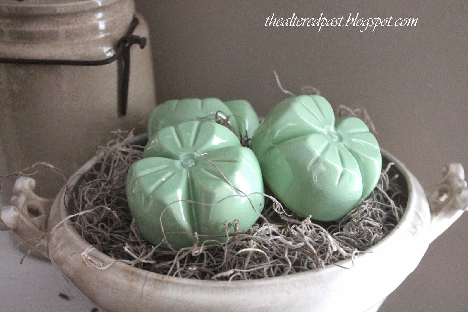 faux jadeite shamrocks