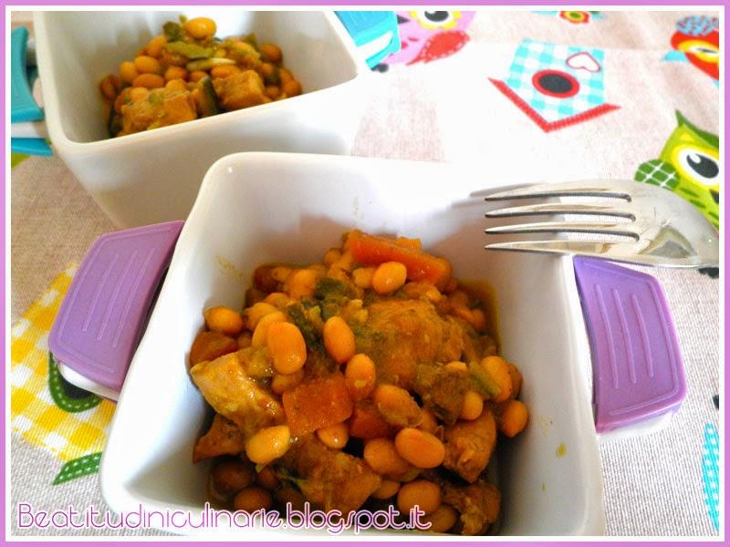 spezzatino di pollo e soia al curry