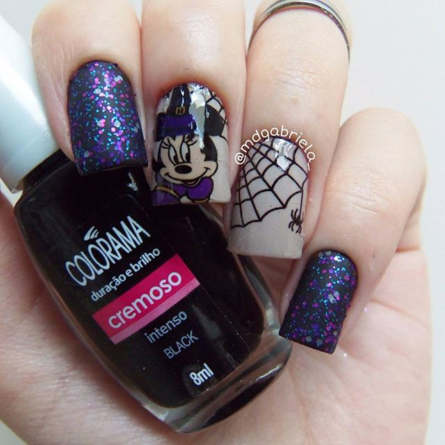 Unhas Halloween com Glitter Sirius