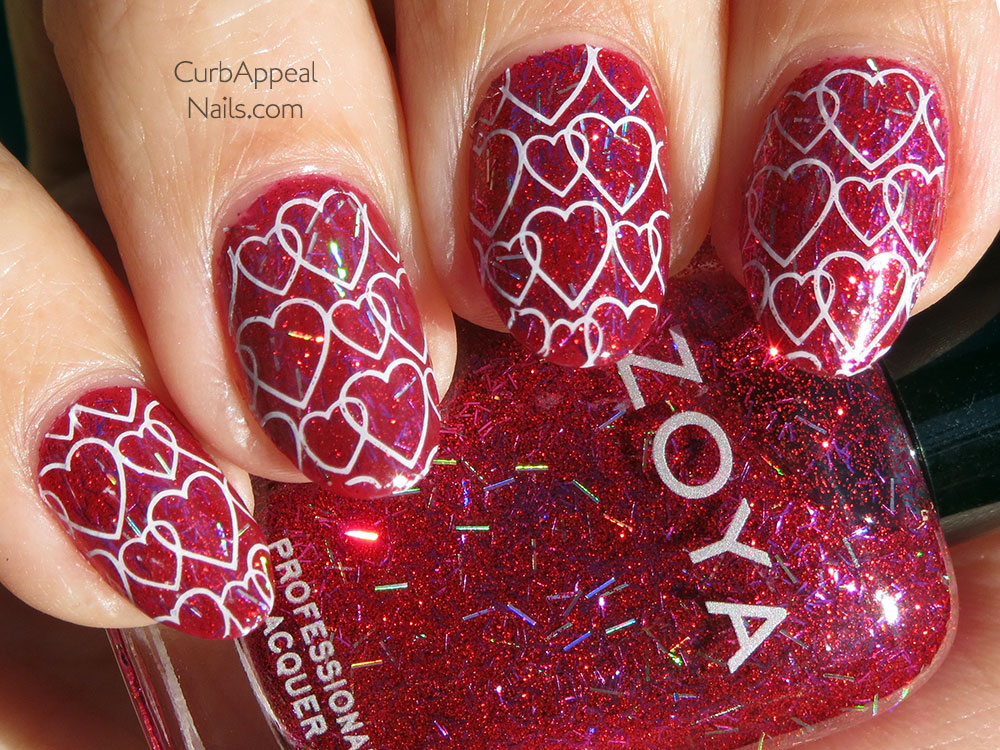 Valentine's Day Heart Stamping with Sephora Color Hit Dangerous and Zoya Kissy