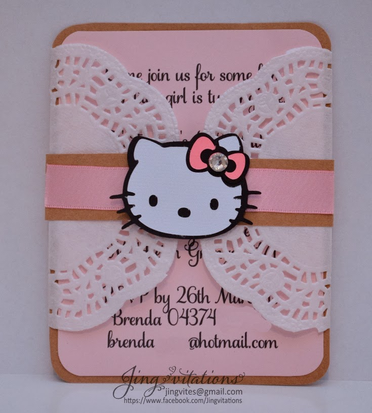 hello kitty doily invitations