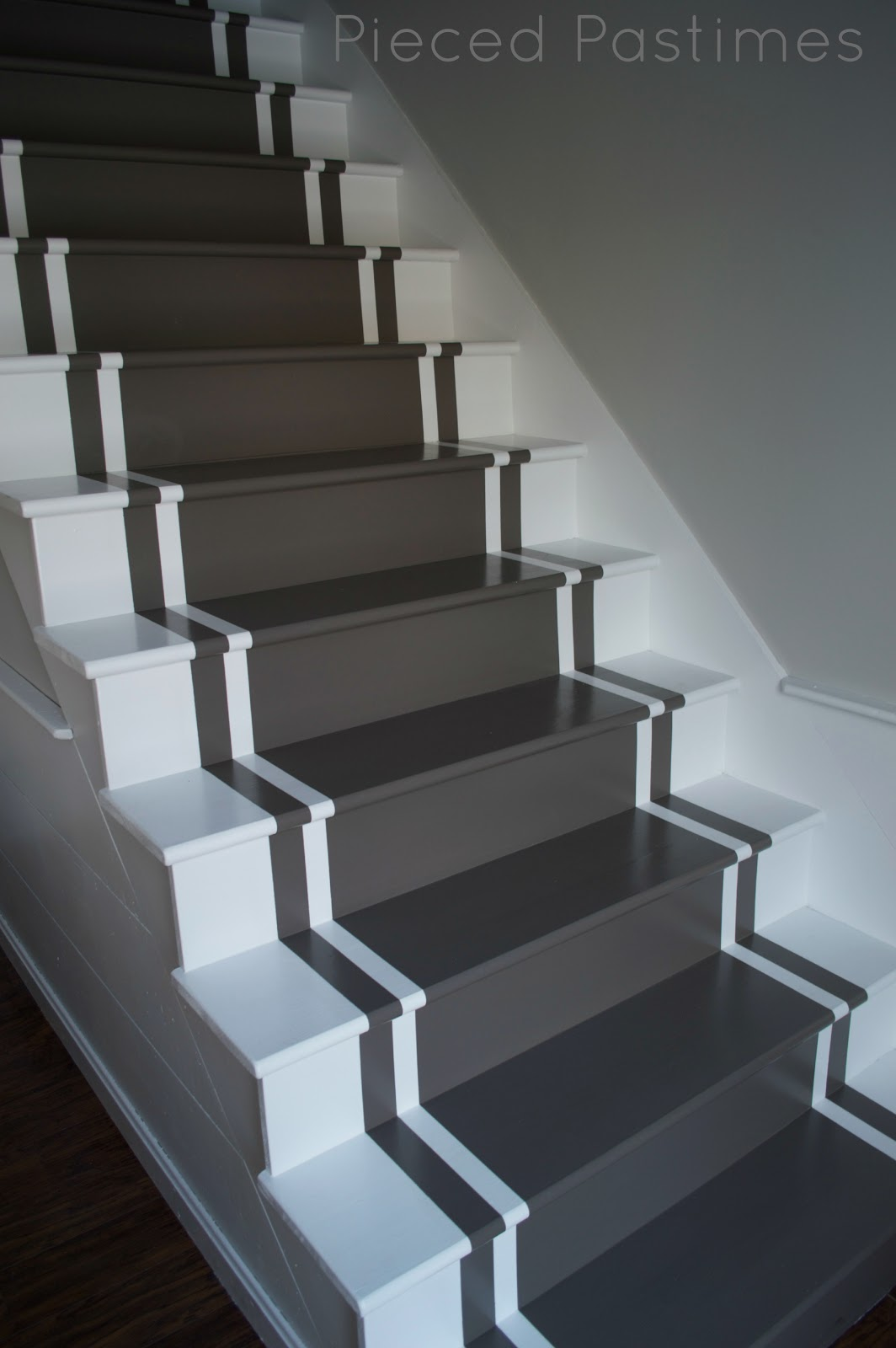 Pieced pastimes diy painted stair runner - Painted stairs ideas pictures ...