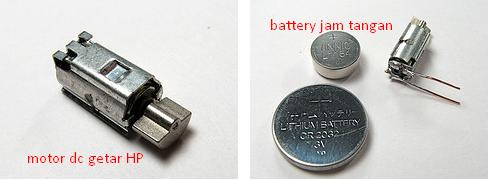 bahan: motor getar HP dan battery jam
