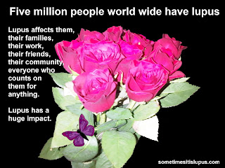 Image of roses with text: Five million people worldwide have lupus. Lupus affects them, their family, their friends, their community, everyone who counts on them for anything. Lupus has a huge impact.