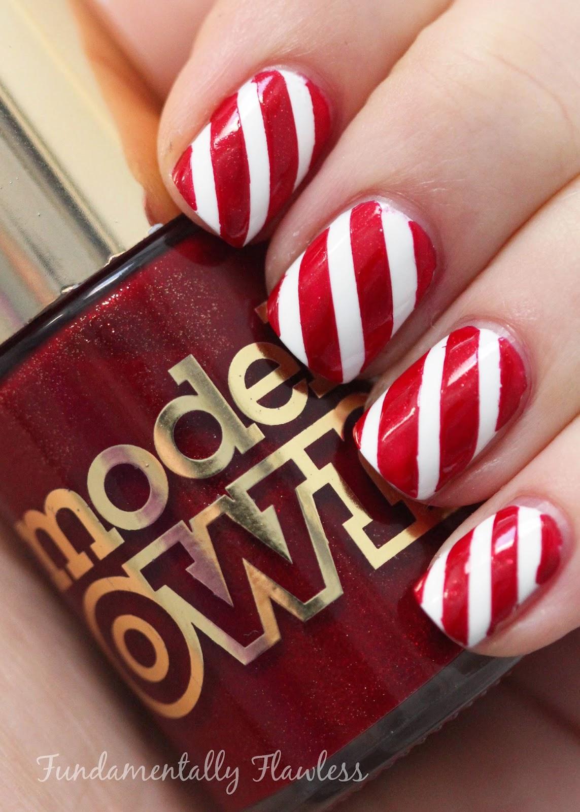 Christmas Candy Cane Nail Art