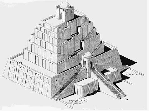 Mesopotamian ziggurat drawing