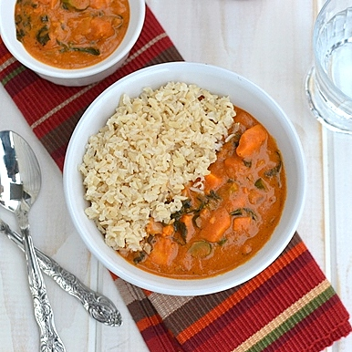 Sweet Potato Curry with Peanut sauce