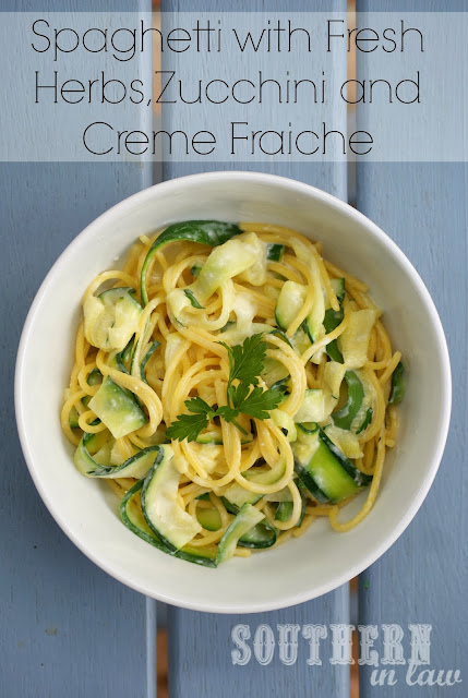 Spaghetti with Creme Fraiche, Zucchini and Fresh Herbs - Gluten Free, Healthy