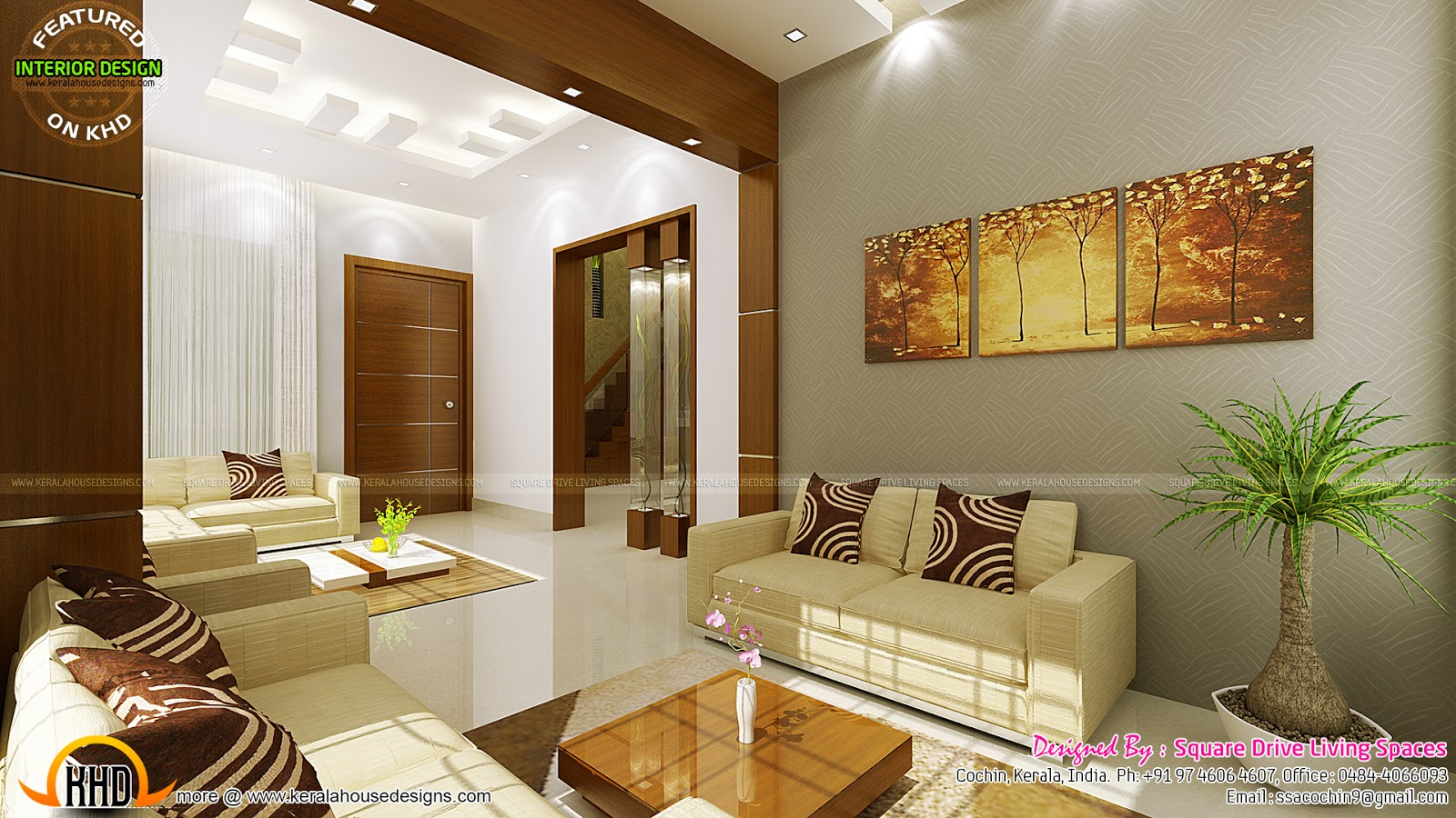 Contemporary kitchen dining and living room kerala home for Home plans with interior photos