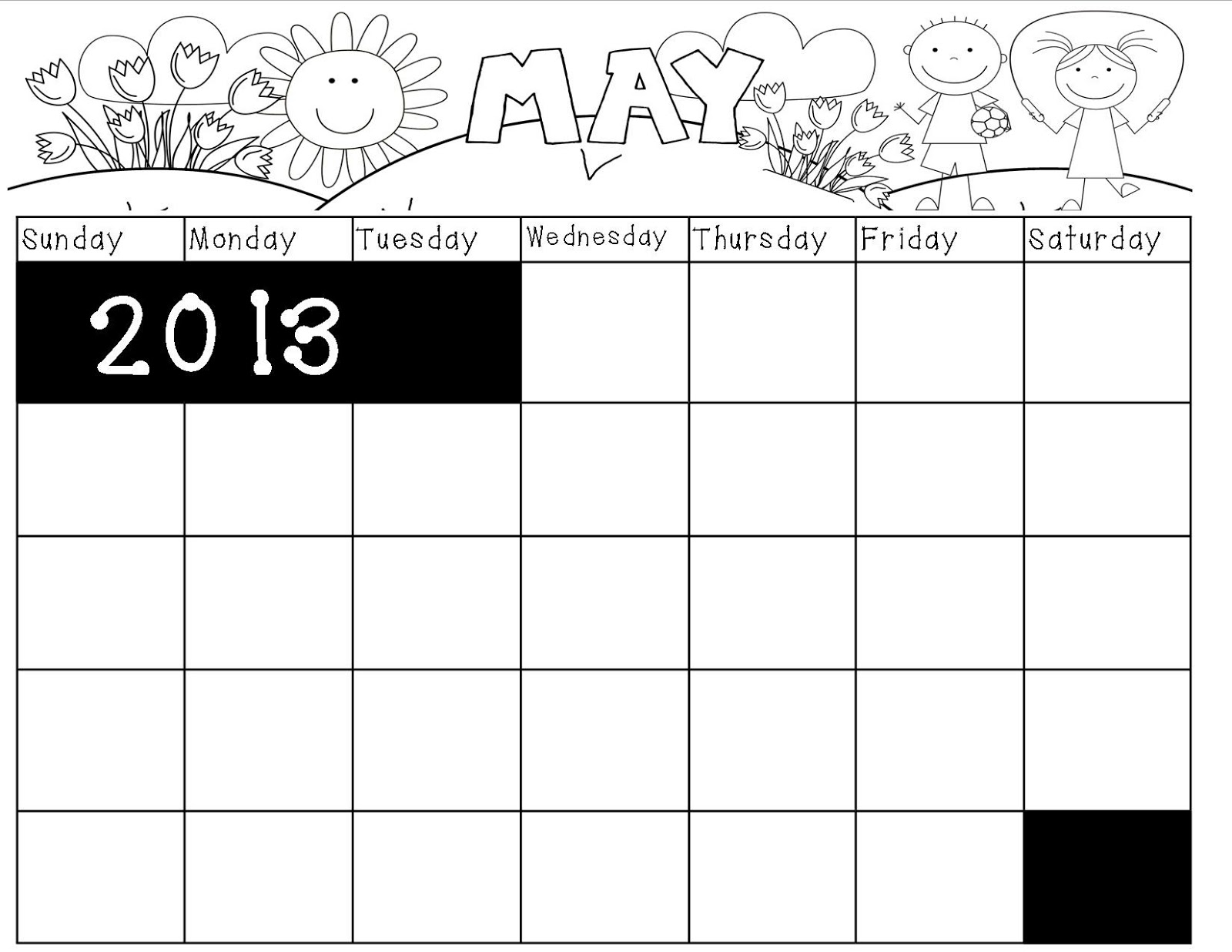 Blank Calendar Book : May calendar printable for kids