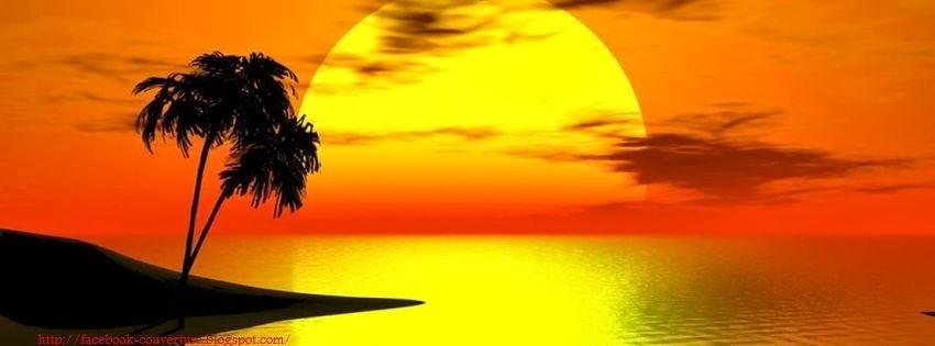 Couverture facebook coucher de soleil tropicales