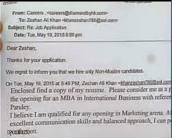 Muslim youth denied job by company that says it hires only 'non-Muslim candidates'.
