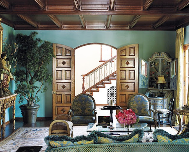 turquoise-living-room-wood-trim-coffered-ceiling-teal-blue-decorating-ideas