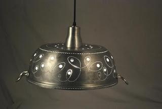 metal colander lamp