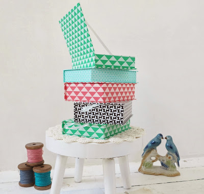 ByHaafner, pastel storage boxes for haberdashery, paper yarn